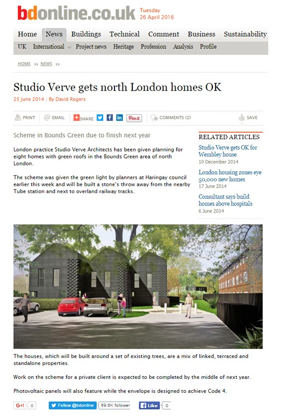 BOUNDS GREEN 8 HOUSES FEATURED IN BUILDING DESIGN (BD) MAGAZINE, UK.