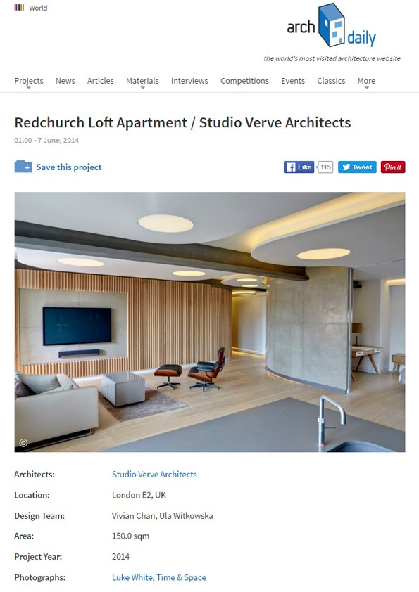Redchurch Loft featured in ArchDaily!