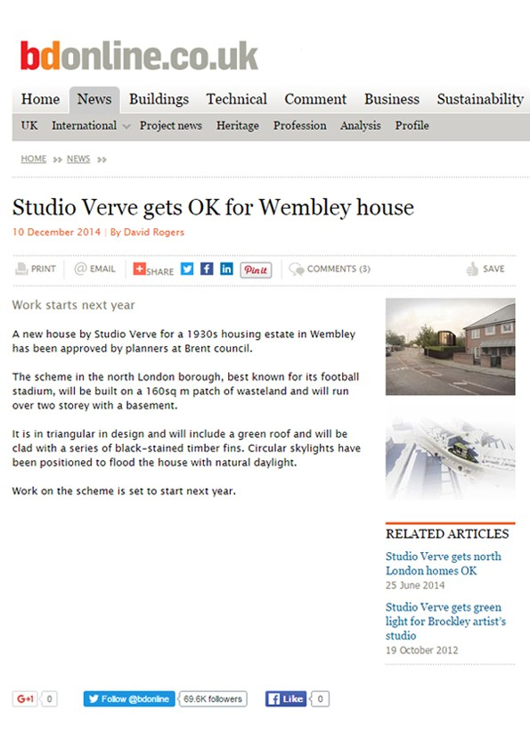 'Maybank Ave House' featured in Building Design (BD) magazine, UK