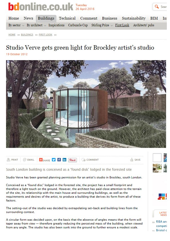 'Artist Studio' in Brockley featured on BD