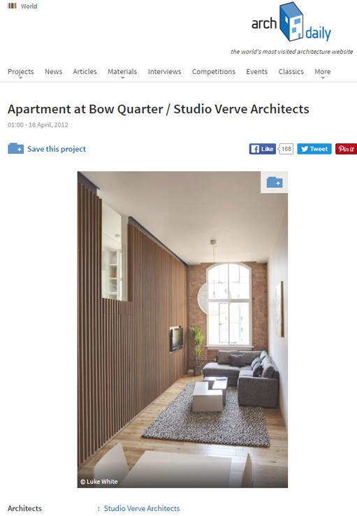 Bow Quarter apartment featured on ArchDaily.