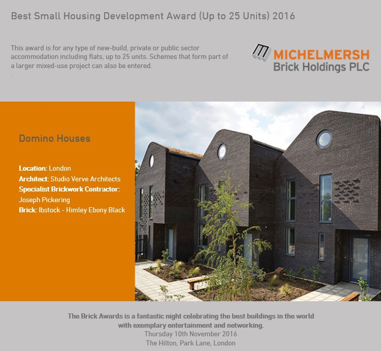 Our Domino Houses made Finalist at the Brick Awards 2016!